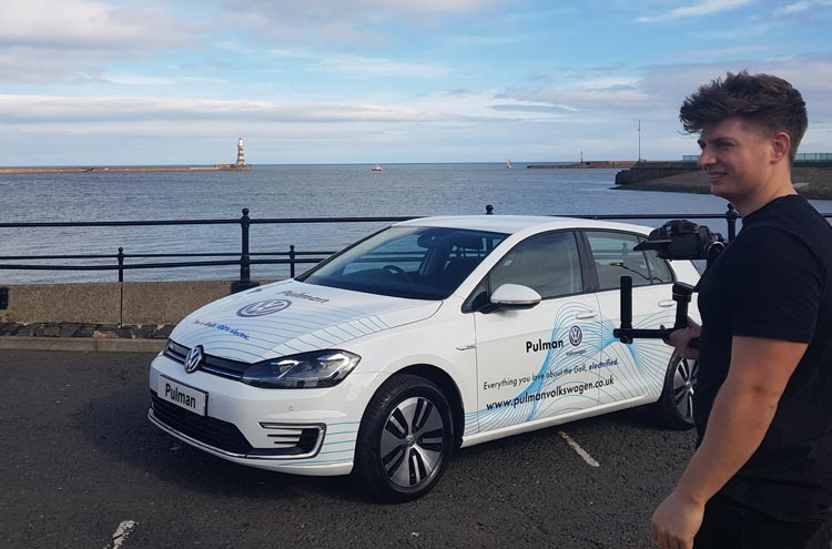 Volkswagen e-Gold down Roker Beach from Pulman