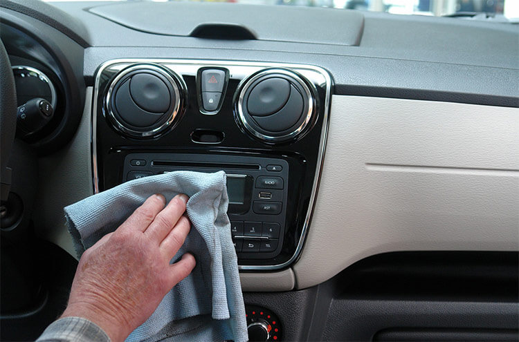 Interior cleaning of a car