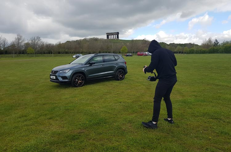 CUPRA Ateca from Pulman SEAT in Herrington Park with Penshaw Monument in the distance
