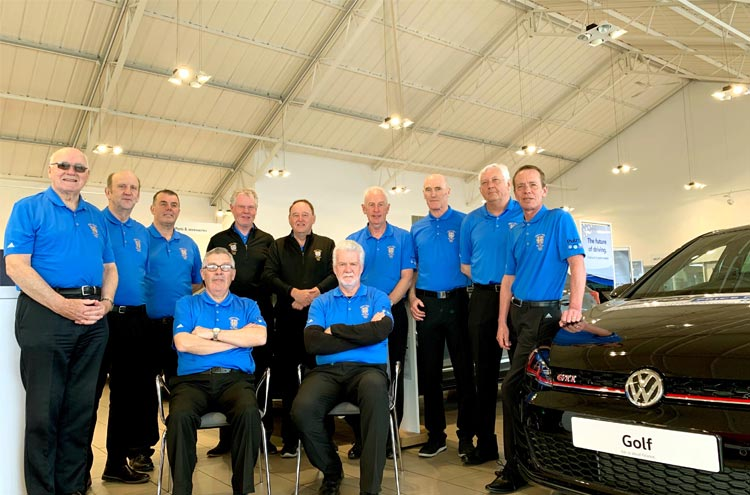 Durham County Golf Union Seniors team photo at Pulman Volkswagen