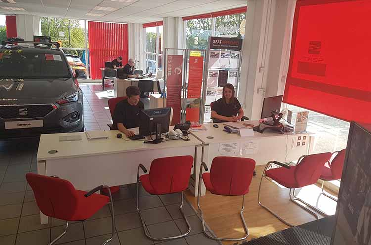 Pulman SEAT Service Reception in the main showroom for the refurbishment