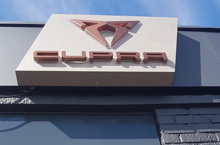 New CUPRA sign at Pulman SEAT in Sunderland