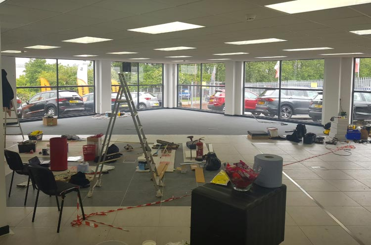 Flooring nearly complete with phase 2 for the Pulman SEAT and CUPRA refurb!