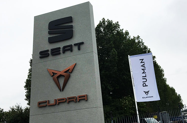 New SEAT and CUPRA signs and flags at Pulman after refurbishment