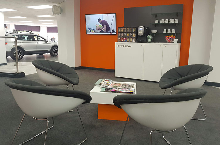 New customer waiting area at Pulman SEAT and CUPRA after refurbishment