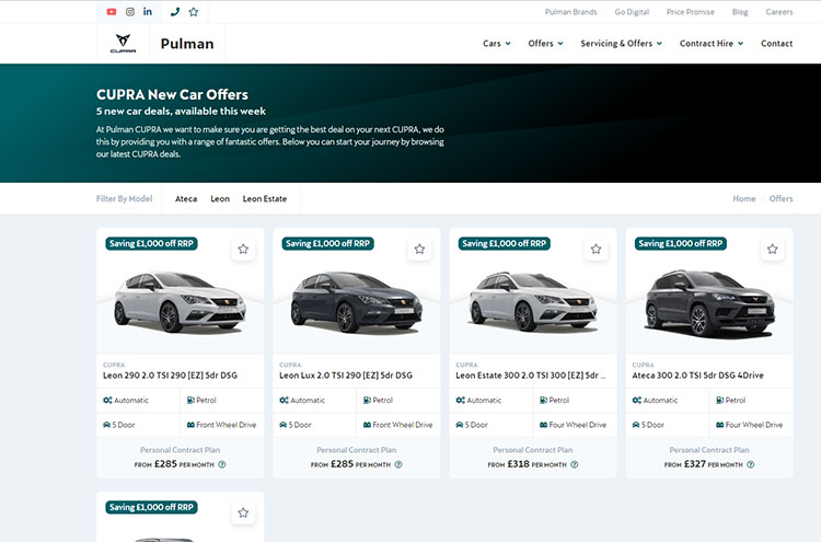 New Pulman CUPRA website section