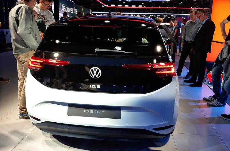 Rear view of the new Volkswagen ID.3 at the Frankfurt Motor Show 2019
