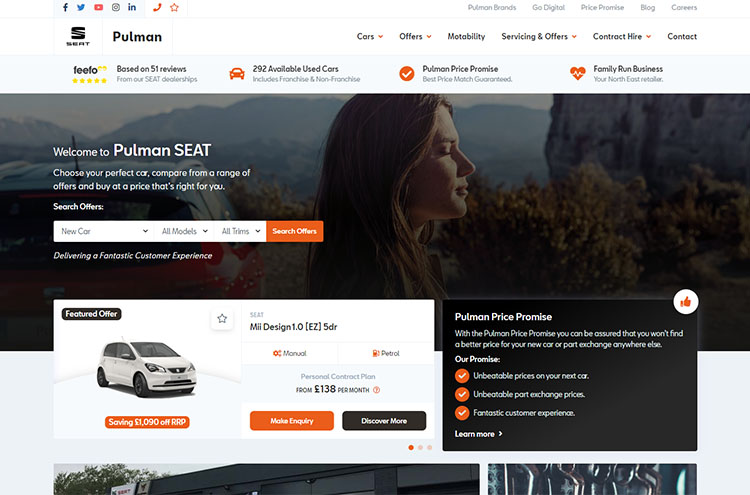 new Pulman SEAT website
