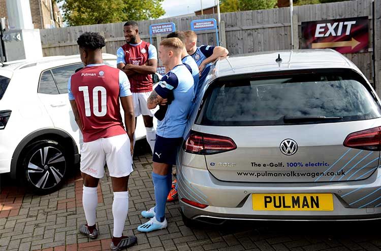 Pulman continue their sponsorship with South Shields FC - team with the Volkswagen e-Golf
