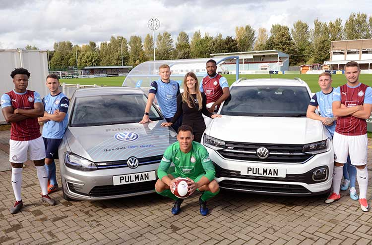 South Shields FC and Pulman continue their sponsorship.  1st team players and Stephanie Carty, from Pulman marketing department with the Volkswagen e-Golf and T-Cross SUV