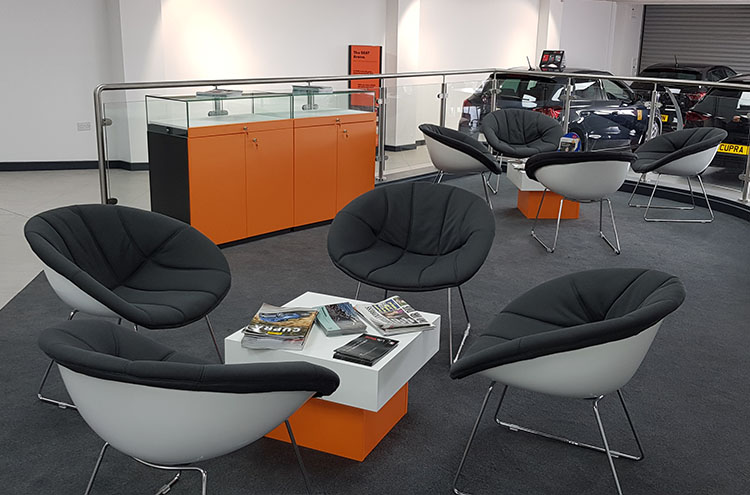 new waiting area at at Pulman SEAT and CUPRA
