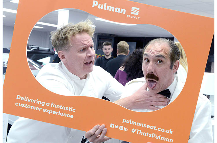 Gordon Ramsey and Manuel lookalikes at Pulman SEAT and CUPRA launch